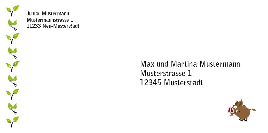 """Einladung """"Papa"""", Musterumschlag Post"""