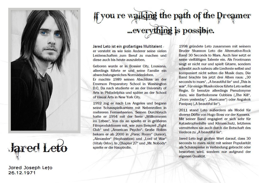 Jared Leto, Flyer Innenseite
