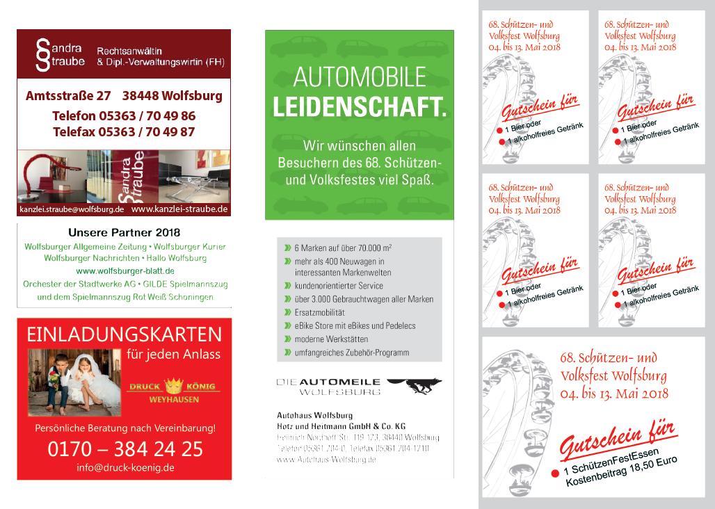 """Schützen- und Volksfest Wolfsburg, Flyer """"Festessen"""" IS"""