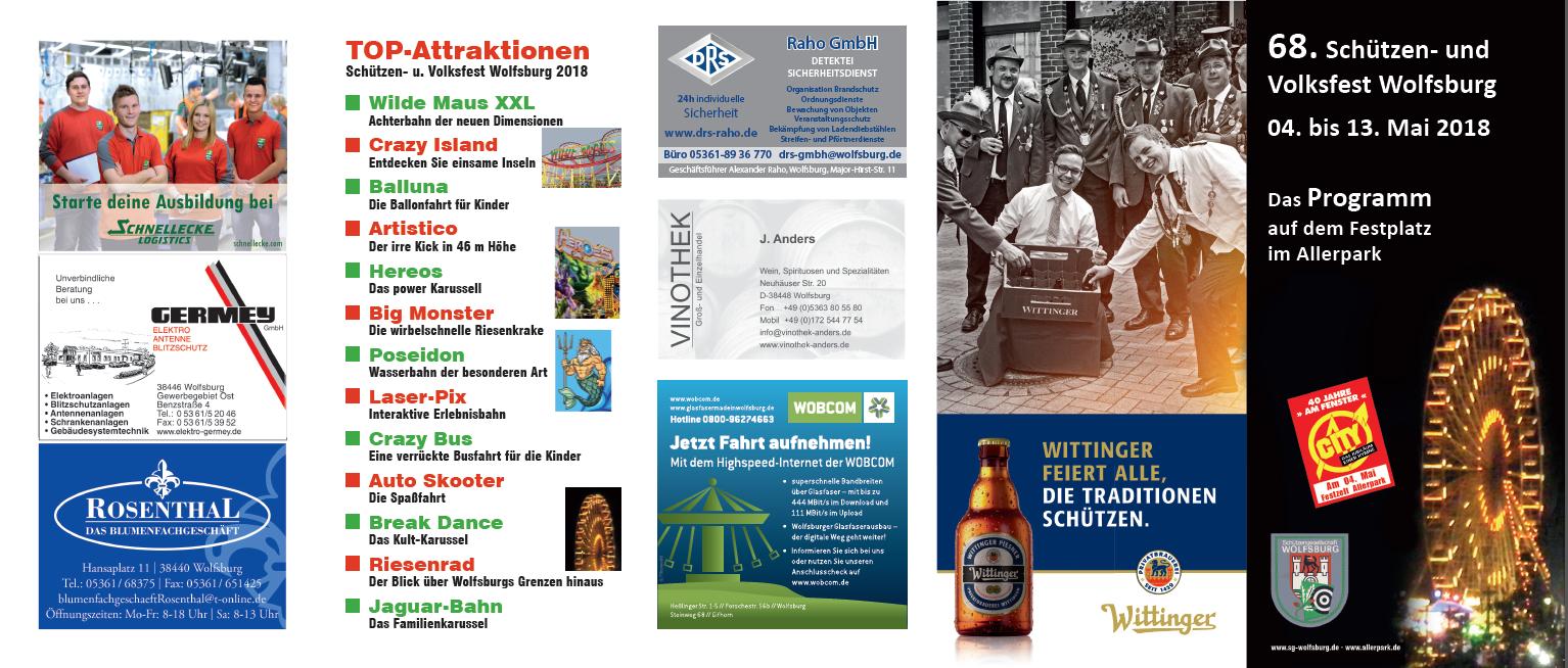 """Schützen- und Volksfest Wolfsburg, Flyer """"Programm"""" AS"""