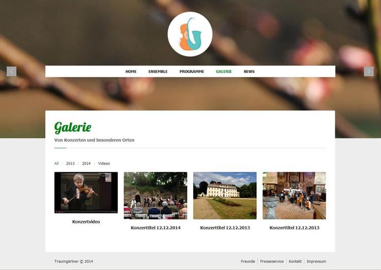 Website Traumgärtner, Galerie-Übersicht