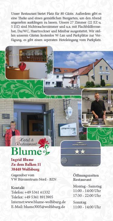 Hotel & Restaurant Blume, Flyer Version 1 Vorderseite