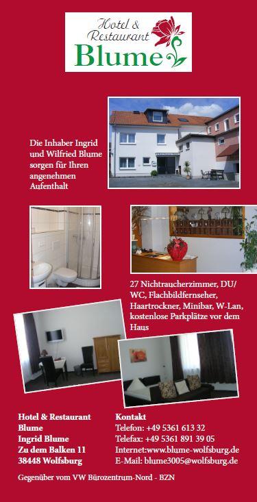 Hotel & Restaurant Blume, Flyer Version 2 Vorderseite