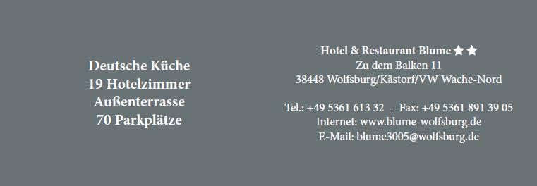 Hotel & Restaurant Blume, Visitenkarte 2016 Innenseite