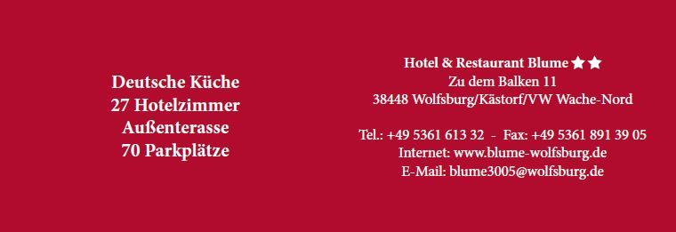 Hotel & Restaurant Blume, Visitenkarte 2015 Innenseite