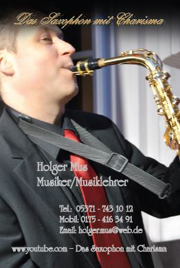 Saxophon Visitenkarte Vorderseite