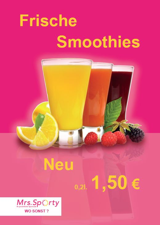Mrs. Sporty Plakat A2 Smoothies