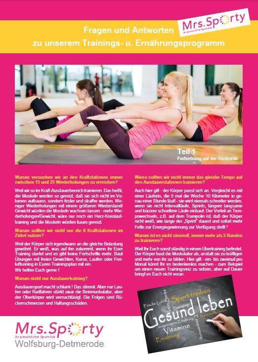 Mrs. Sporty Plakat A4 Programm Teil 1 VS