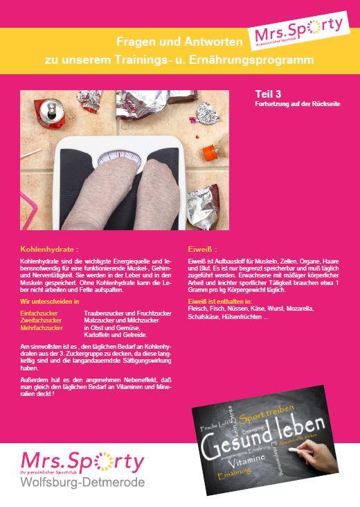 Mrs. Sporty Plakat A4 Programm Teil 3 VS