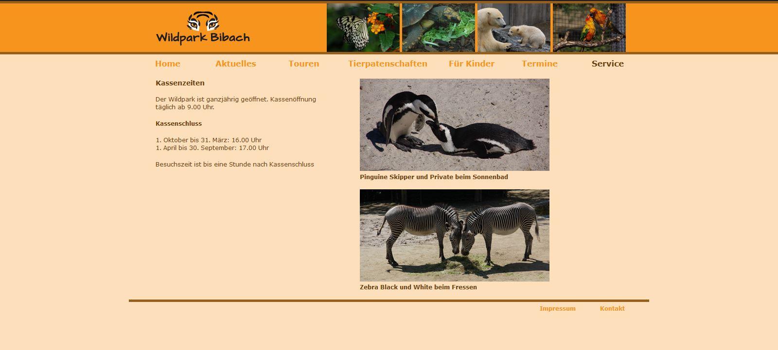 Wildpark Bibach - Service - Kassenzeiten