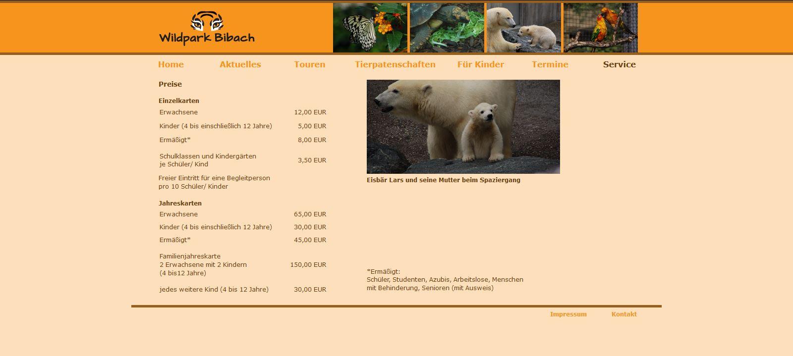 Wildpark Bibach - Service - Preise