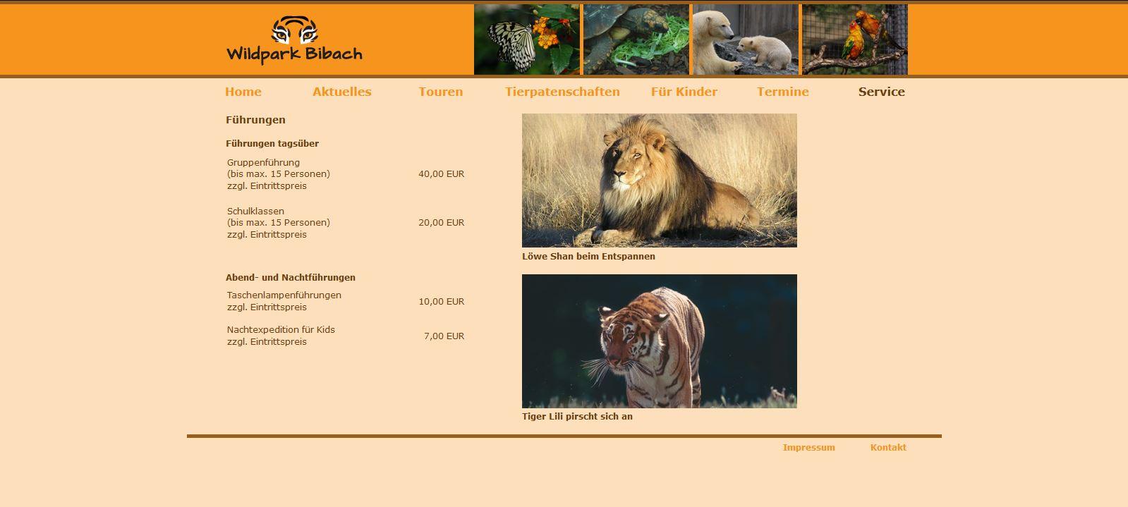 Wildpark Bibach - Service - Führungen