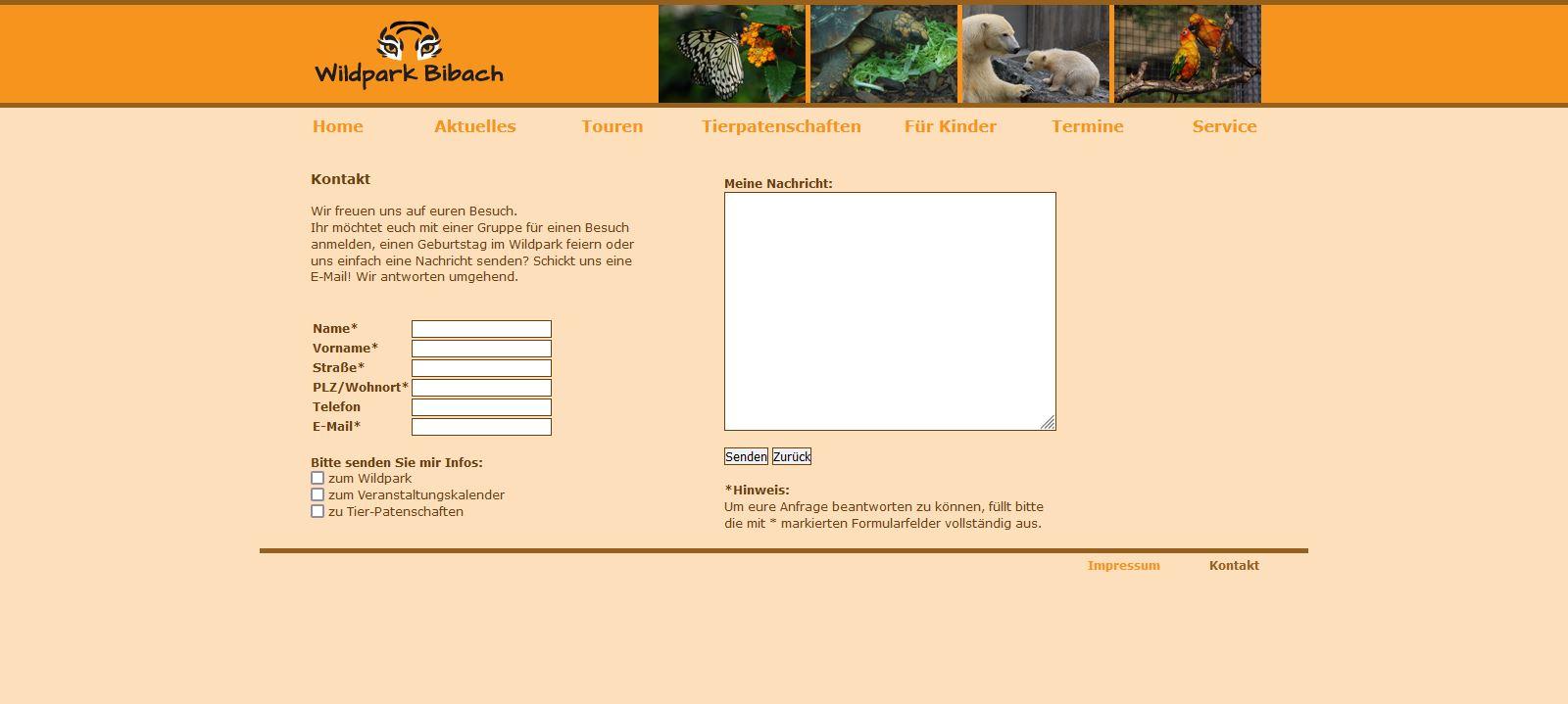 Wildpark Bibach - Kontakt