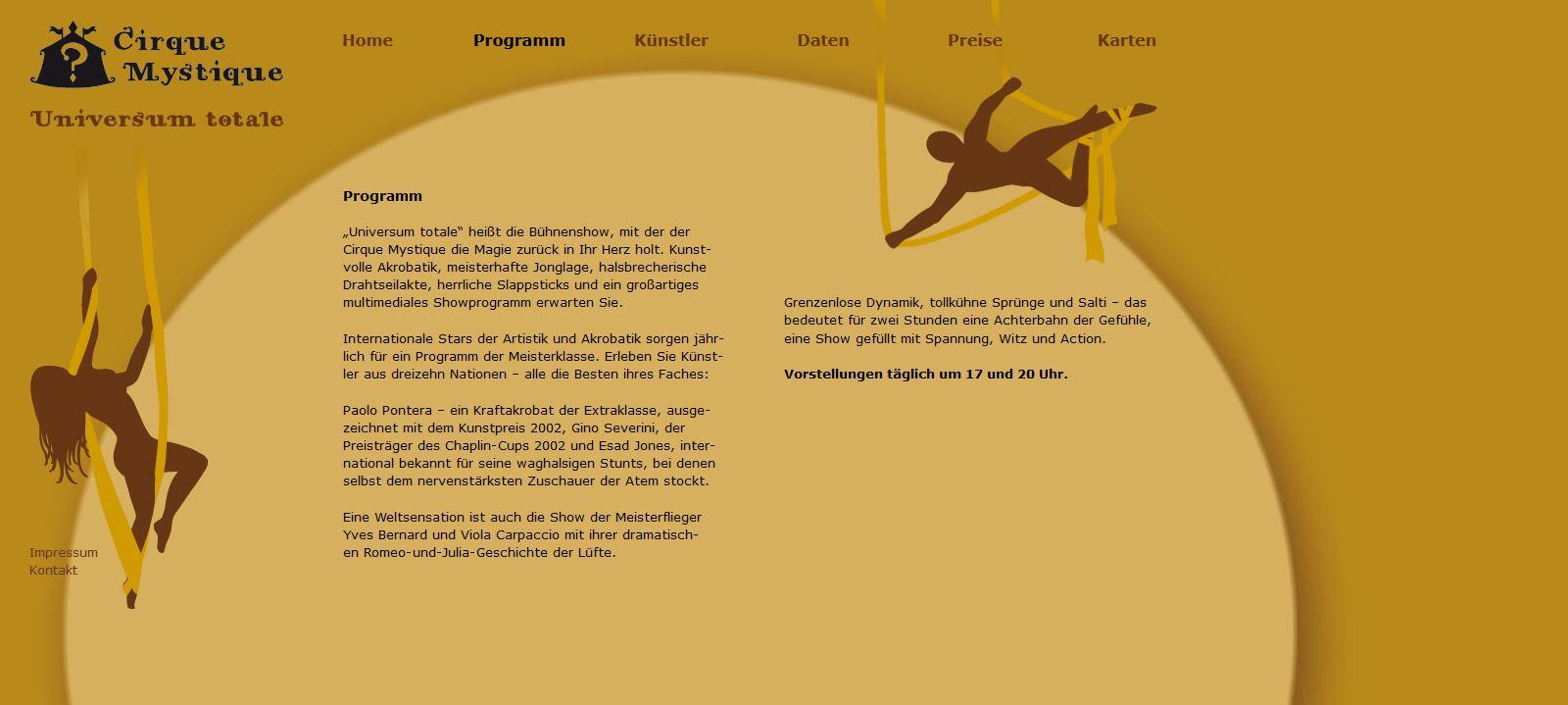 Cirque Mystique - Programm