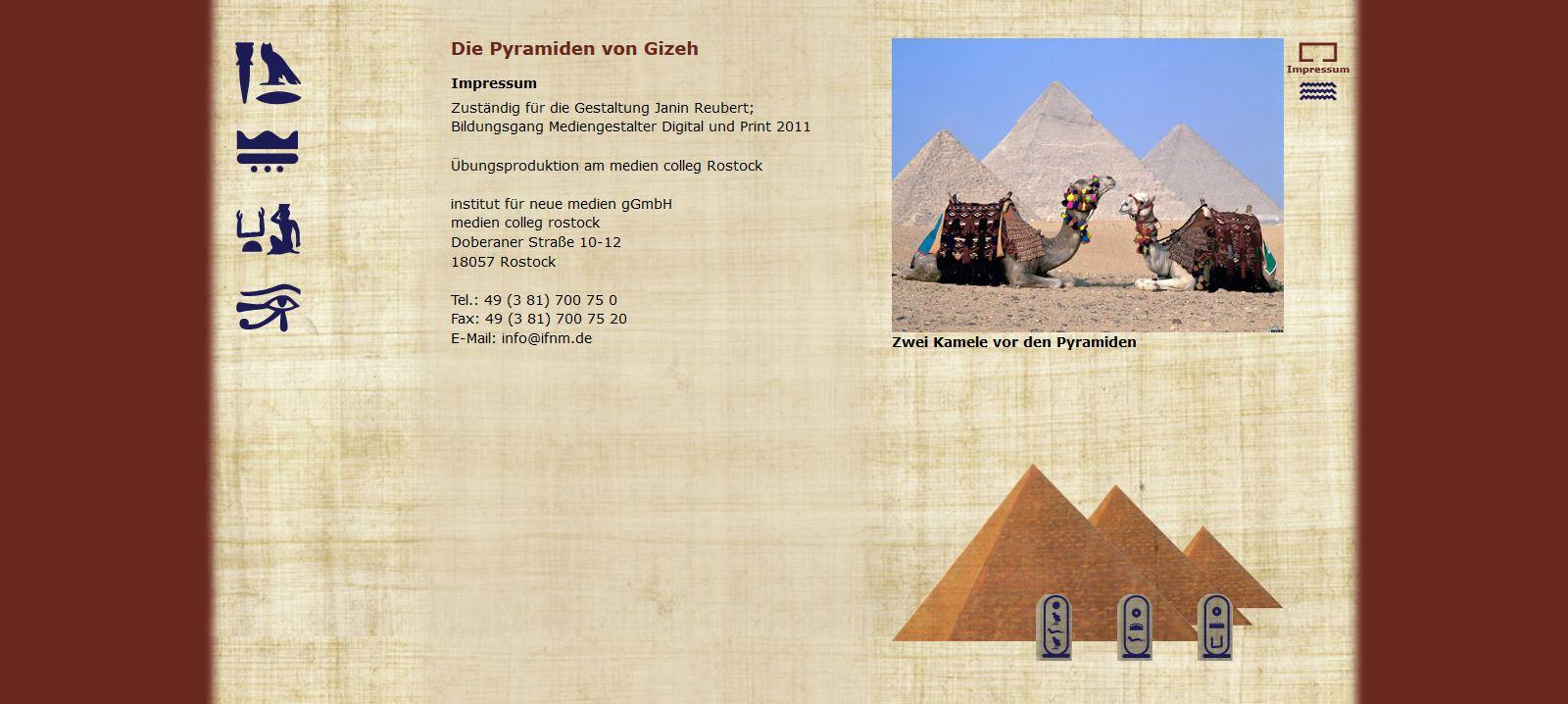 Die Pyramiden von Gizeh - Impressum