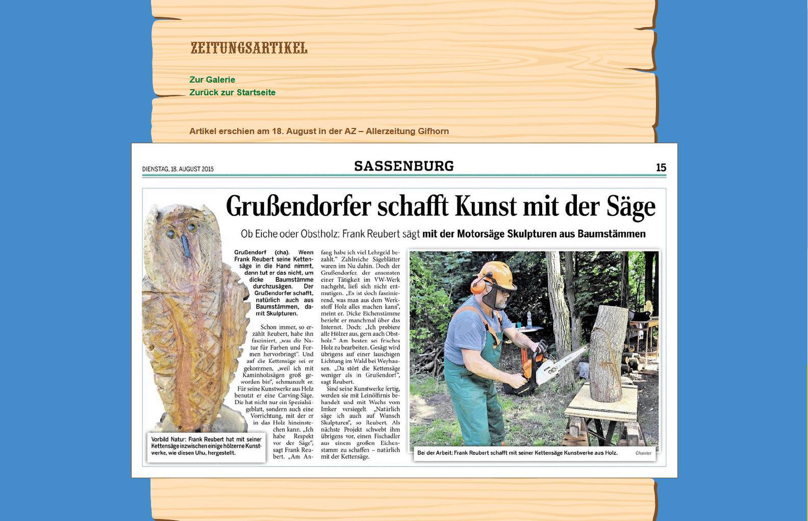 Website Holzwurm Frank Zeitungsartikel