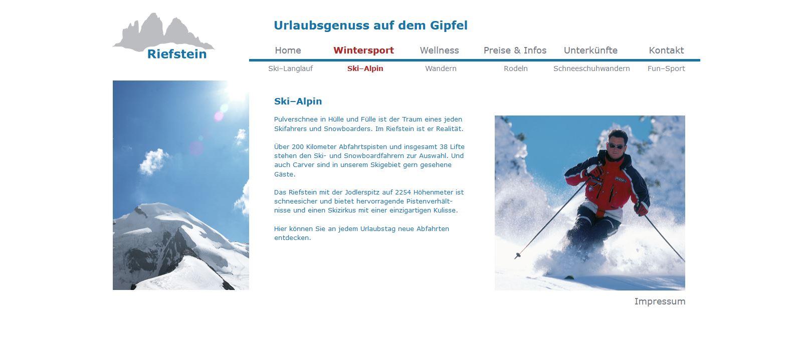 Website Riefstein Wintersport