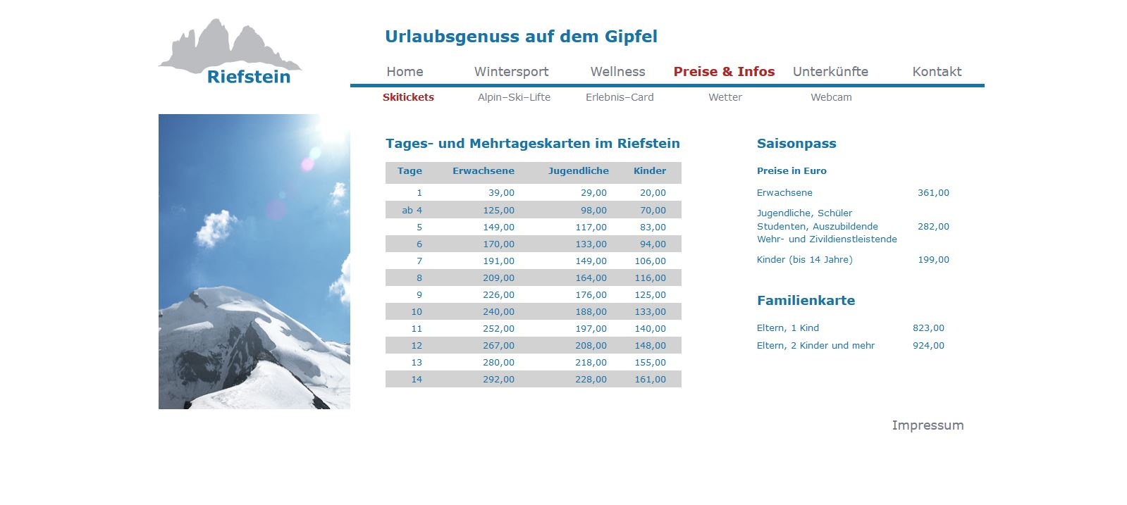 Website Riefstein Preise & Infos - Tickets