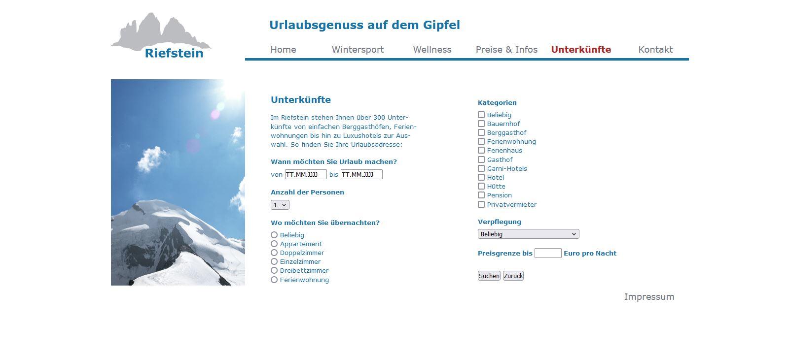 Website Riefstein Unterkünfte
