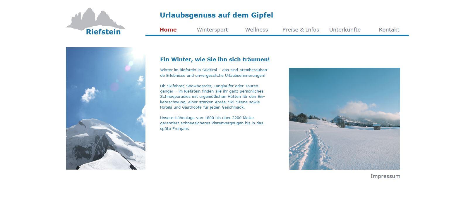 Website Riefstein Start